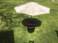 Wine Barrel Cocktail Table (Wood Top w/ Umbrella)