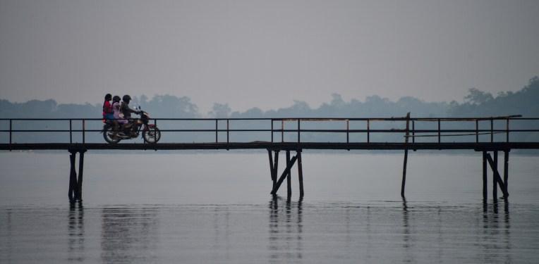 Bridge and motorbike