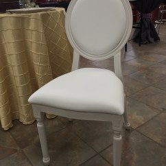 White Cushion Chair Kids Bistro Table And Chairs Taylor S Rental Equipment Co