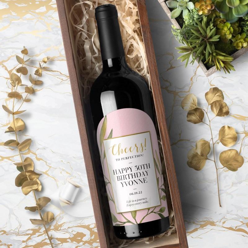 Wine Bottle Labels - Spring Garden- Pink