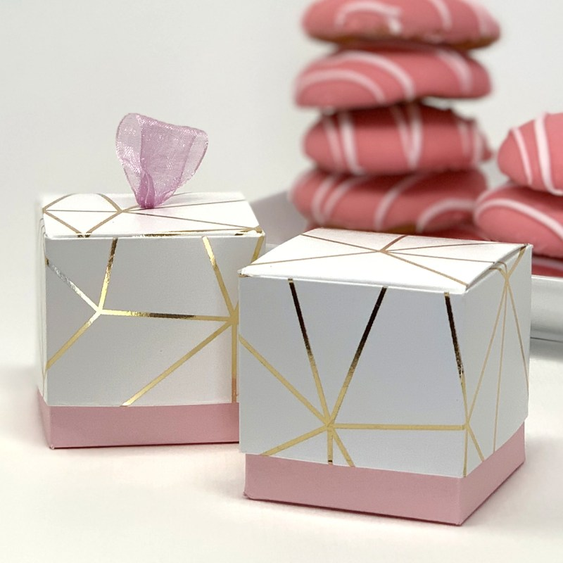 White and Gold Foil Geometric Favor Box - Pink Base (Set of 12)