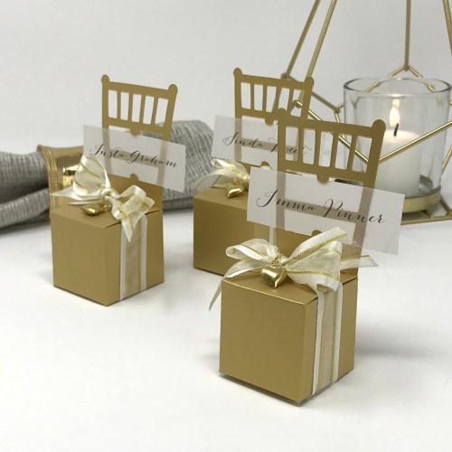 Gold Chair Favor Box and Place Card Holder