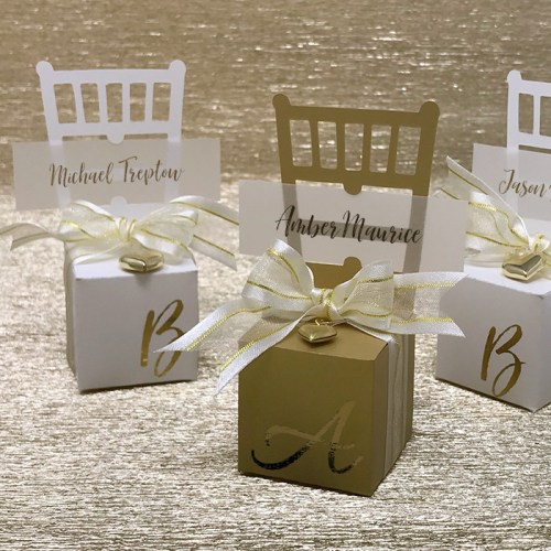 Miniature Chair Favor Box & Place Card Holder with Gold Foil Initial