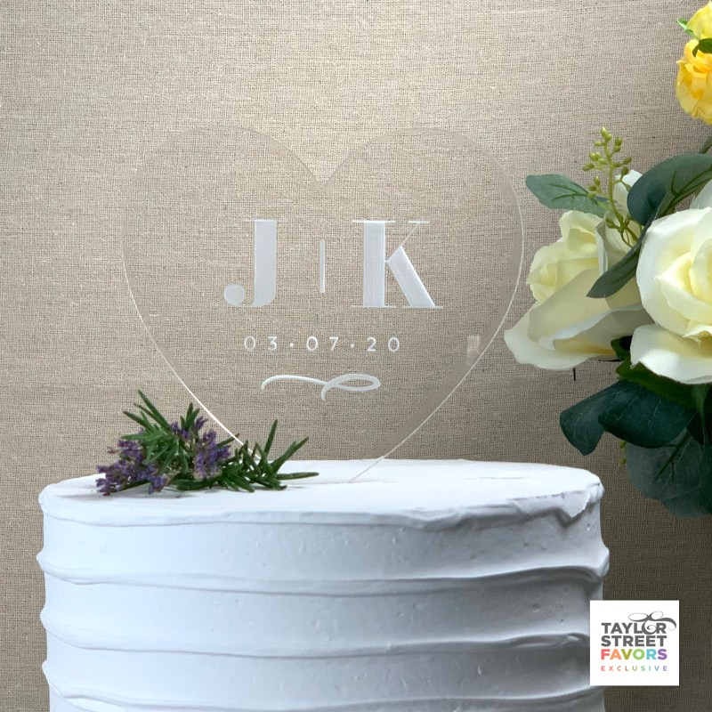 Two Initials and Date Acrylic Heart Cake Topper