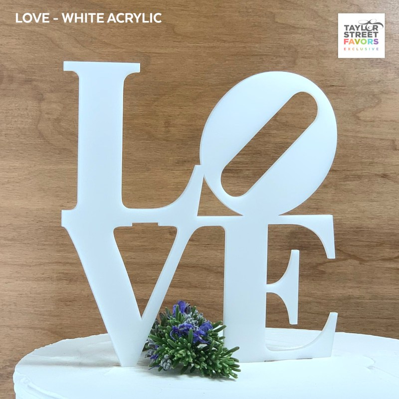 White Philly Love Cake Topper
