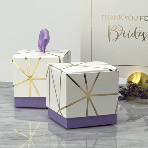 White and Gold Foil Favor Box with Lavender Purple Base and optional ribbon pull.
