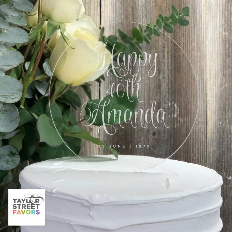 ROUND ACRYLIC CAKE TOPPER WITH ETCHED HAPPY BIRTHDAY MESSAGE