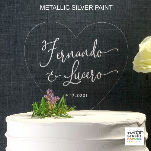 HEart Cake Topper with Metallic Silver paint