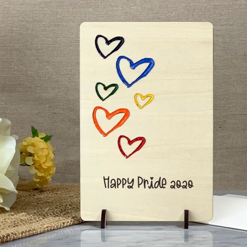 Pride Greeting Card, Rainbow Hearts Card