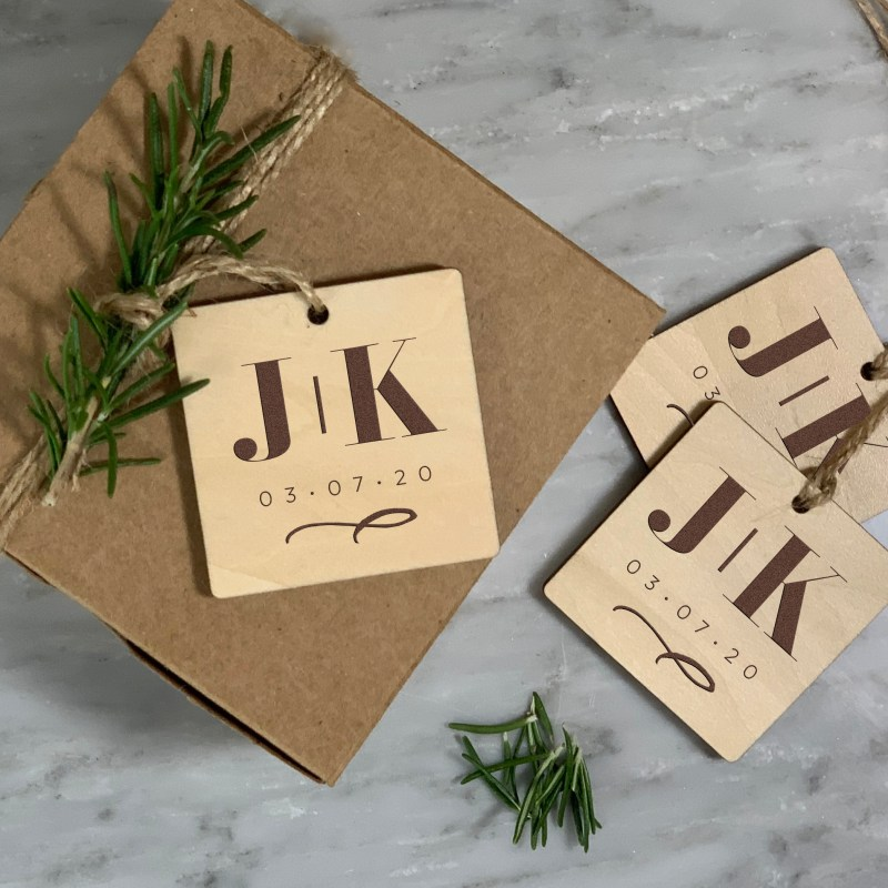 Wood tag with Side by Side Initials