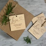 Script Love Etched on a wood tag