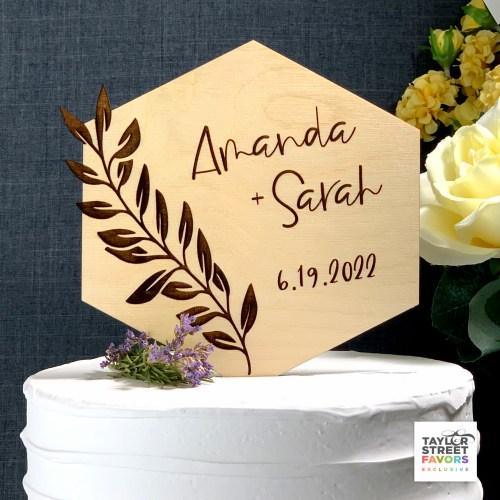 Wood Cake Topper, Rustic Cake Topper, Custom Cake Topper, Anniversary Cake Topper, Personalized Names
