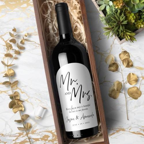 Mr & Mrs Labels for Wine Bottles