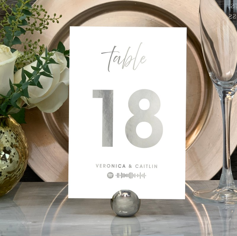 """Spotify """"Our Song""""Table Numbers in Silver"""