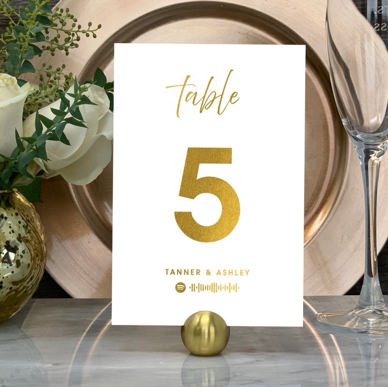 """Spotify """"Our Song""""Table Numbers In Gold"""