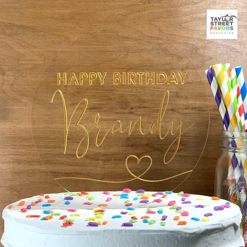Round Happy Birthday Heart Acrylic Cake Topper