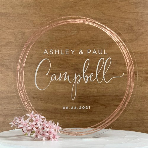 Wedding Cake Topper with Rose Gold Rings and etched text