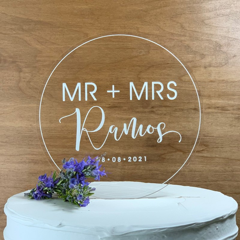 Contemporary Round Engraved Acrylic Cake Topper