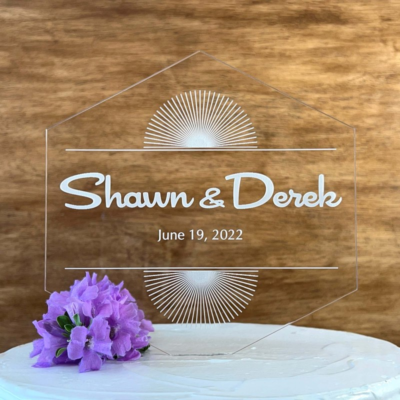 Hexagon Palm SpringsEtched Cake Topper with Names & Date