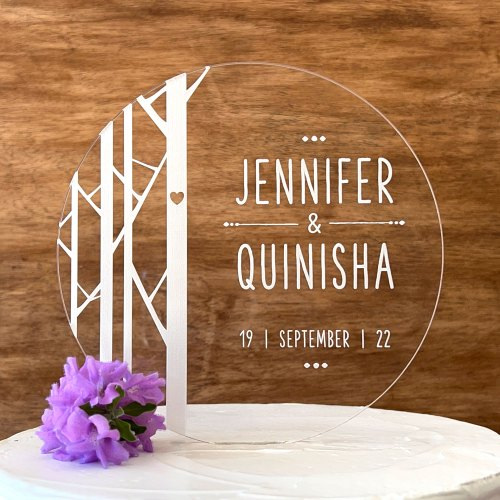 Tree Design Round Engraved Acrylic Cake Topper With Names and Date