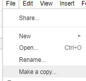 make a copy google sheet