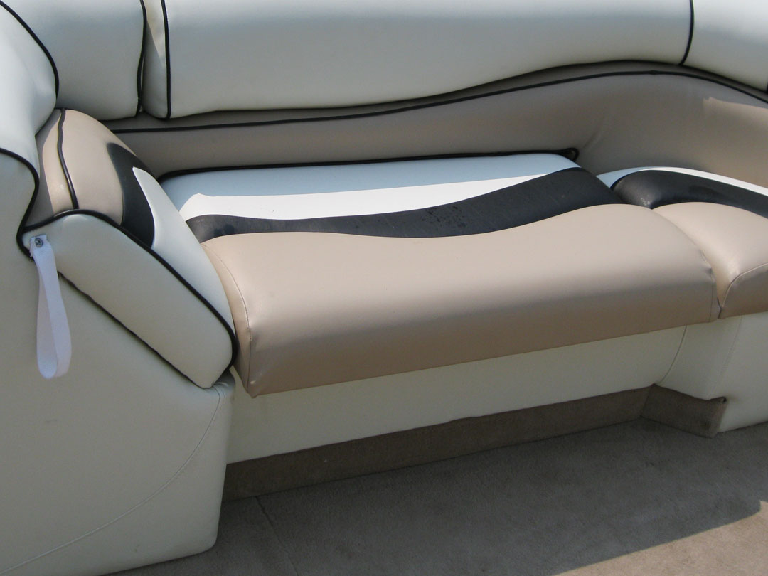 recovering chair cushions vinyl brown leather executive how to reupholster a pontoon boat seat brokeasshome