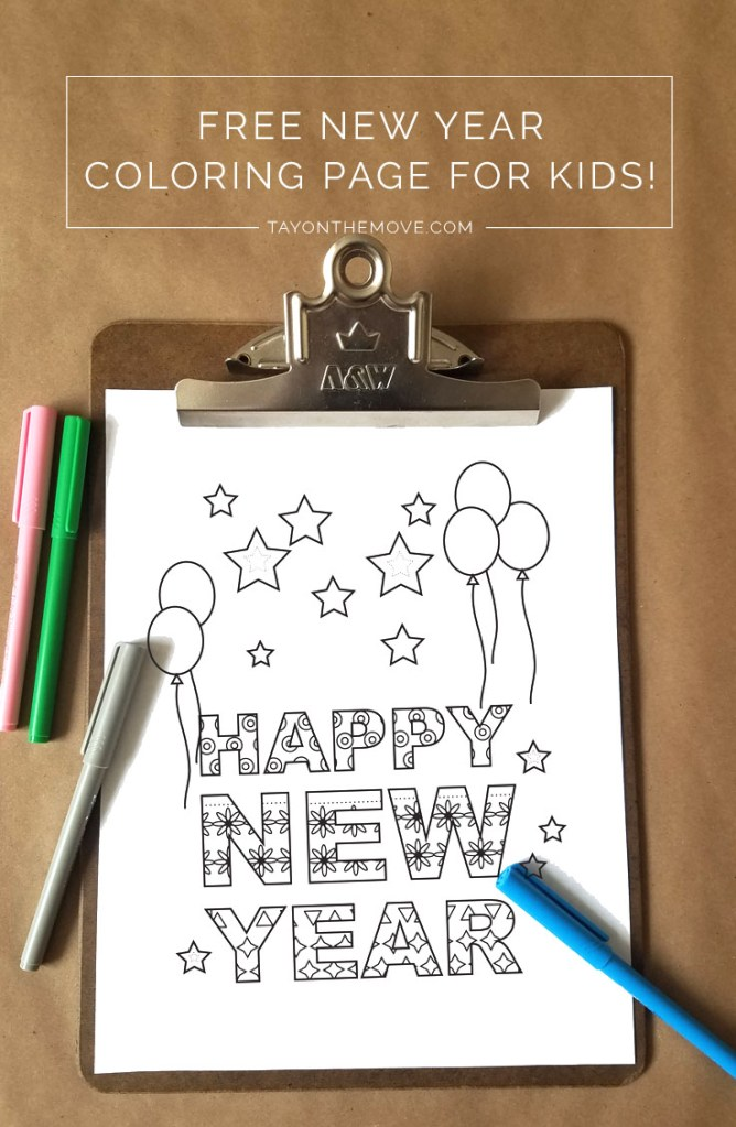 Happy New Year Coloring Page 3