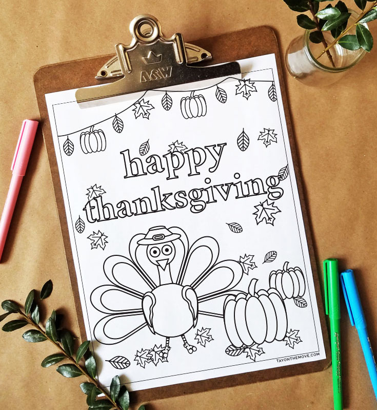 FREEbie Friday Coloring Page 21 - Thanksgiving Inspired