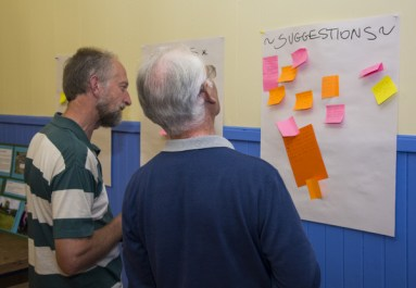 Andrew Widd, project growing coordinator, and Ian, PLANT Committee member contemplating all of the suggestions
