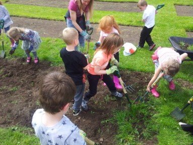 children digging through a garden bed