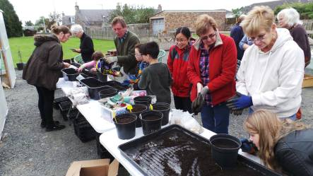 A photo of the bulb planting station