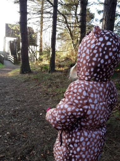 A photo of a girl walking in the woods near a bird hide at Morton Lochs