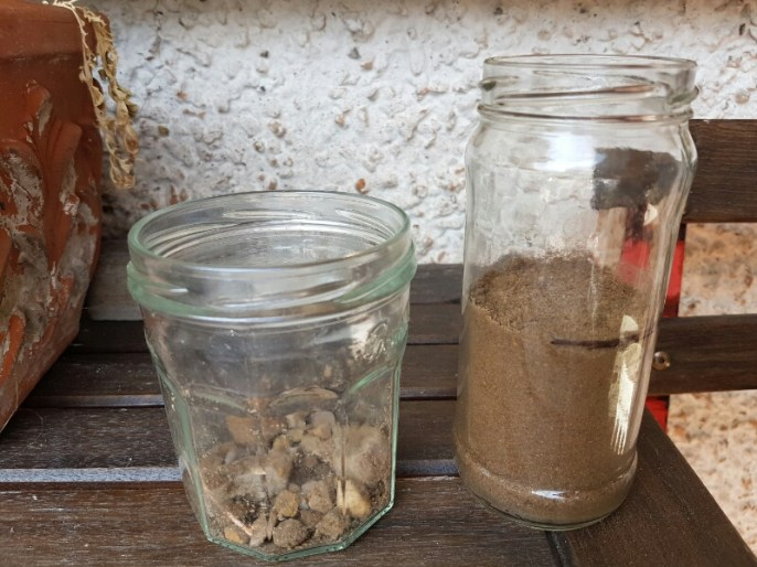 Soil prepared for texture testing - all stones removed and lumps crumbled up