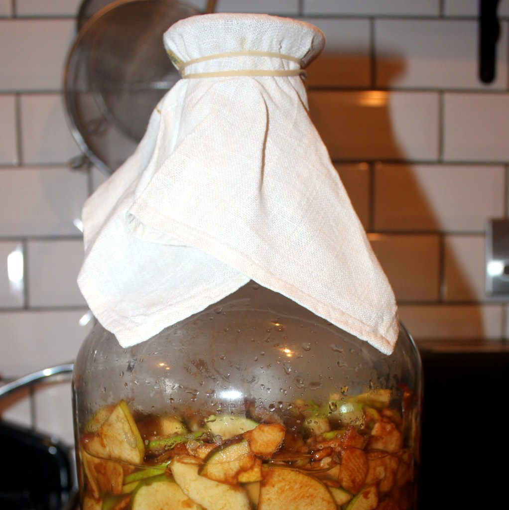 A photo of a jar with Apples fermenting to produce cider vinegar