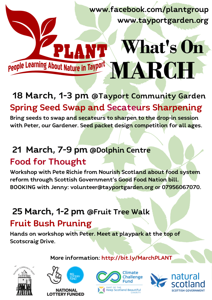 A poster of what's on in March