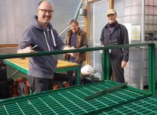 A photo of Sven, Will and Peter building a heated propagator