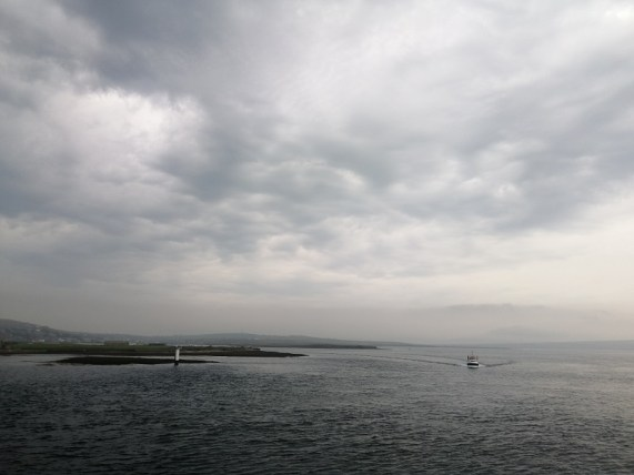 A photo of a cloudy Orkney sky and sea