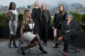 "From left: Uzo Aduba, Laverne Cox, Taylor Schilling, Piper Kerman, Natasha Lyonne and Jenji Kohan of the Netflix series ""Orange Is the New Black,"" in New York, May 15, 2014. The comedy-drama set in a women's penitentiary and adapted from Kerman's memoir about her year at a federal correctional facility, has become an improbable cultural phenomenon since it was introduced on Netflix in July. (Therese + Joel/The New York Times) -- PHOTO MOVED IN ADVANCE AND NOT FOR USE - ONLINE OR IN PRINT - BEFORE JUNE 01, 2014."