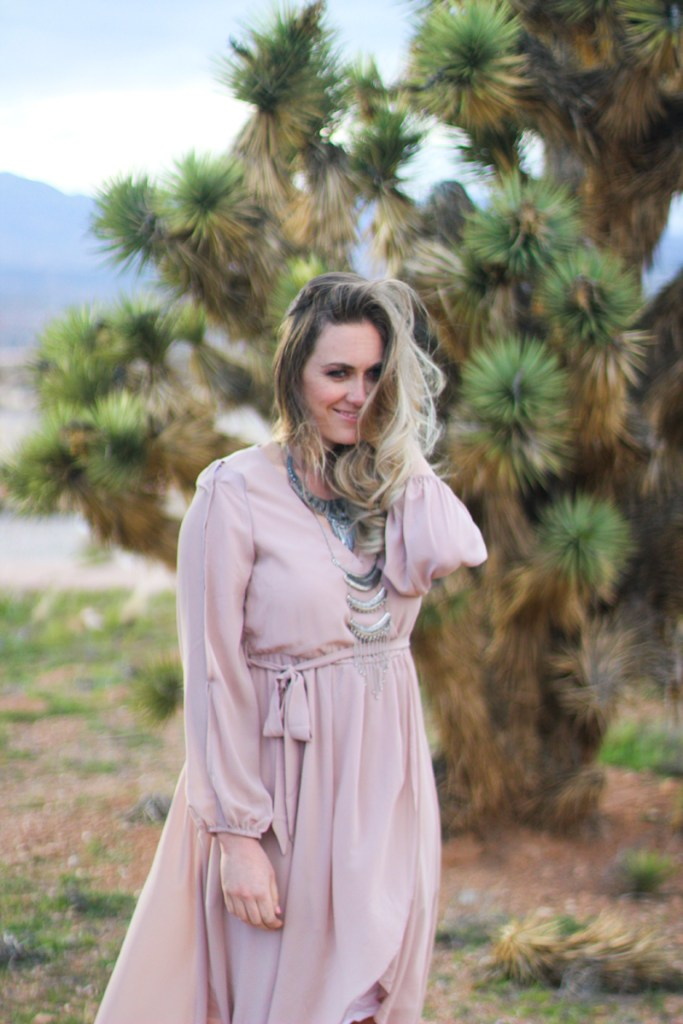 blush maxi dress, messy hair, desert portraits