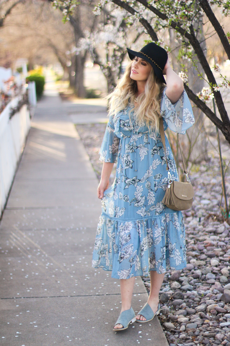 floral dress with bell sleeves, free people knock off shoes