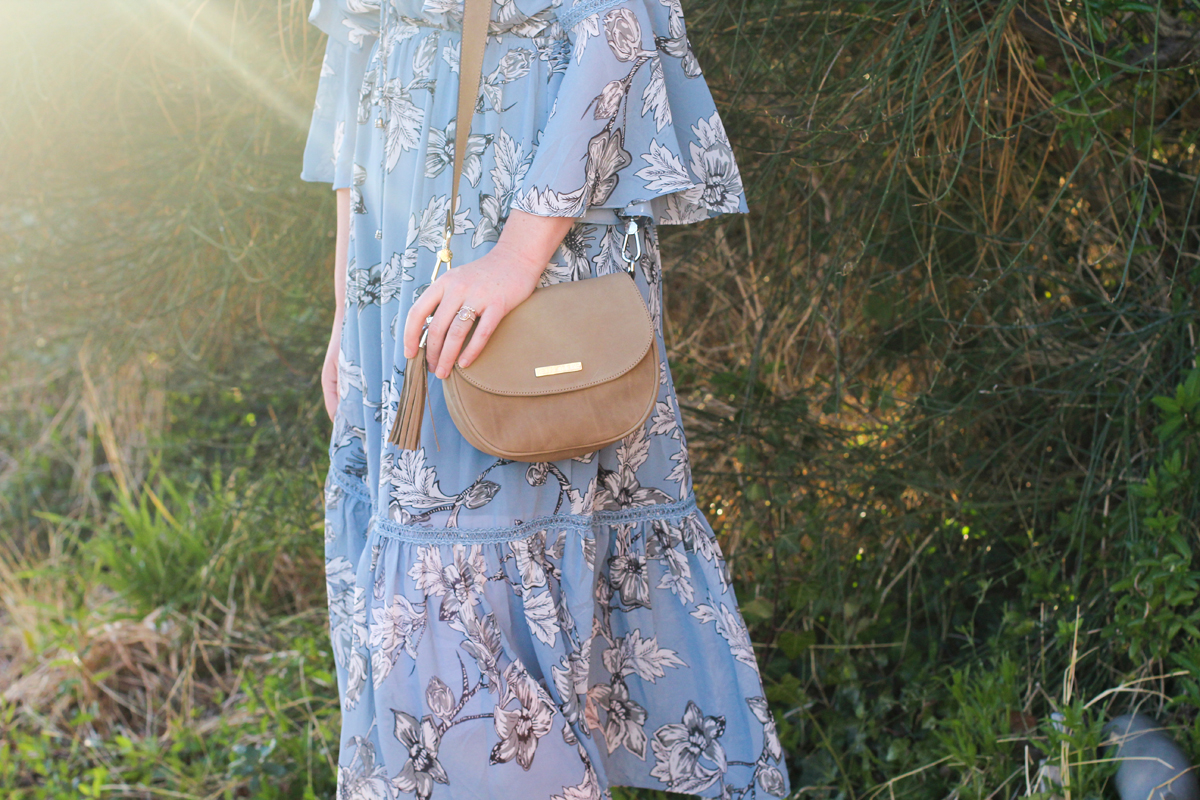 floral dress with bell sleeves, kelly tooke bag, spring fashion