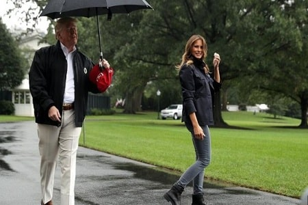 President Trump Blasted for Keeping Umbrella for Himself While Melania Stands in the Rain