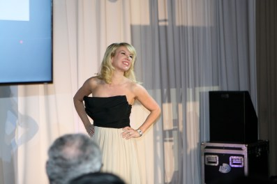Ramona Singer- RHONY models a Dominique Auxilly gown at The Reality of Fashion Reality of Aids event in February 2013.