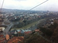 Gondola ride from Left bank of River to Narikala fortress on the hill above Old Tbilisi