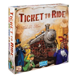 """Ticket to Ride"" box art, game created by Alan R. Moon."