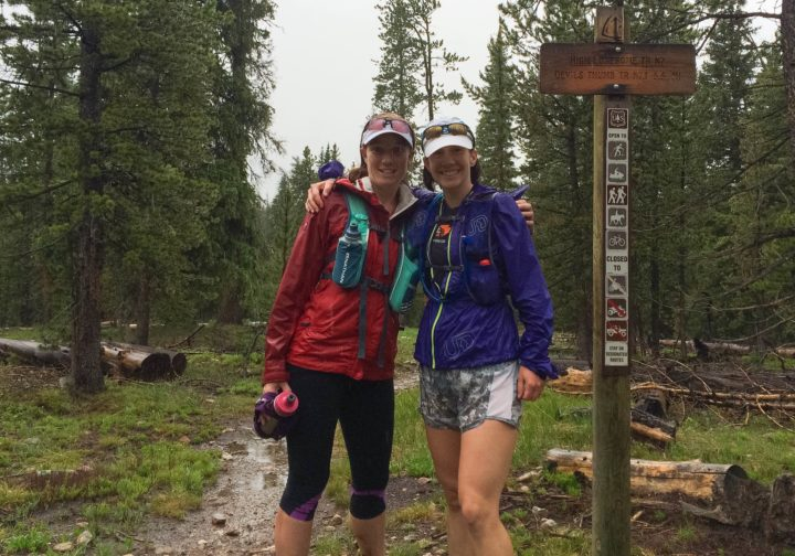Kristin & Kristen on a very soggy High Lonesome Trail