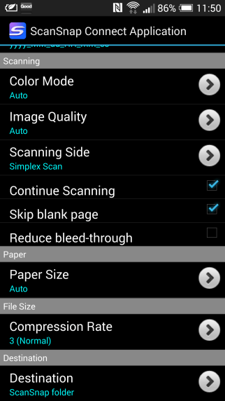 ScanSnap iX100 Android App