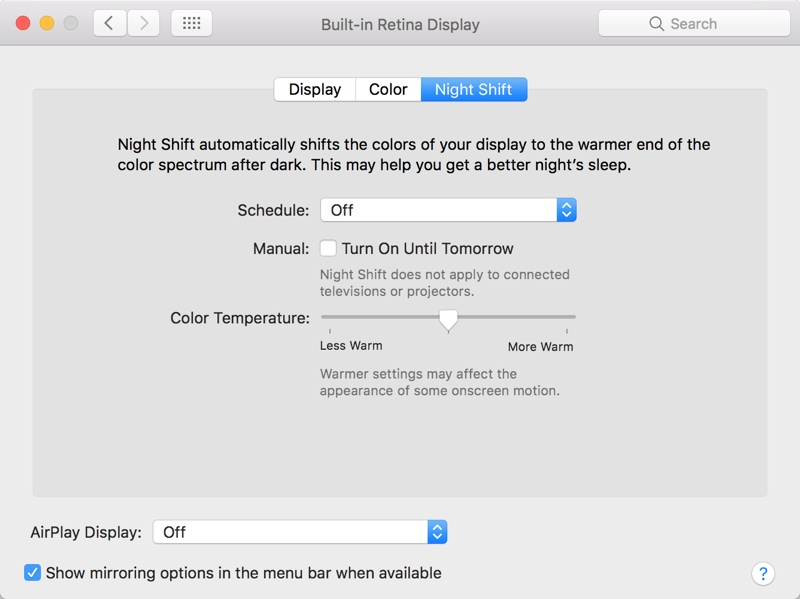 macOS 10.12.4 Night Shift Options