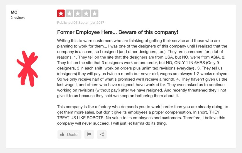 Sample Review of LogoDesignGuarantee Lifted from Trustpilot