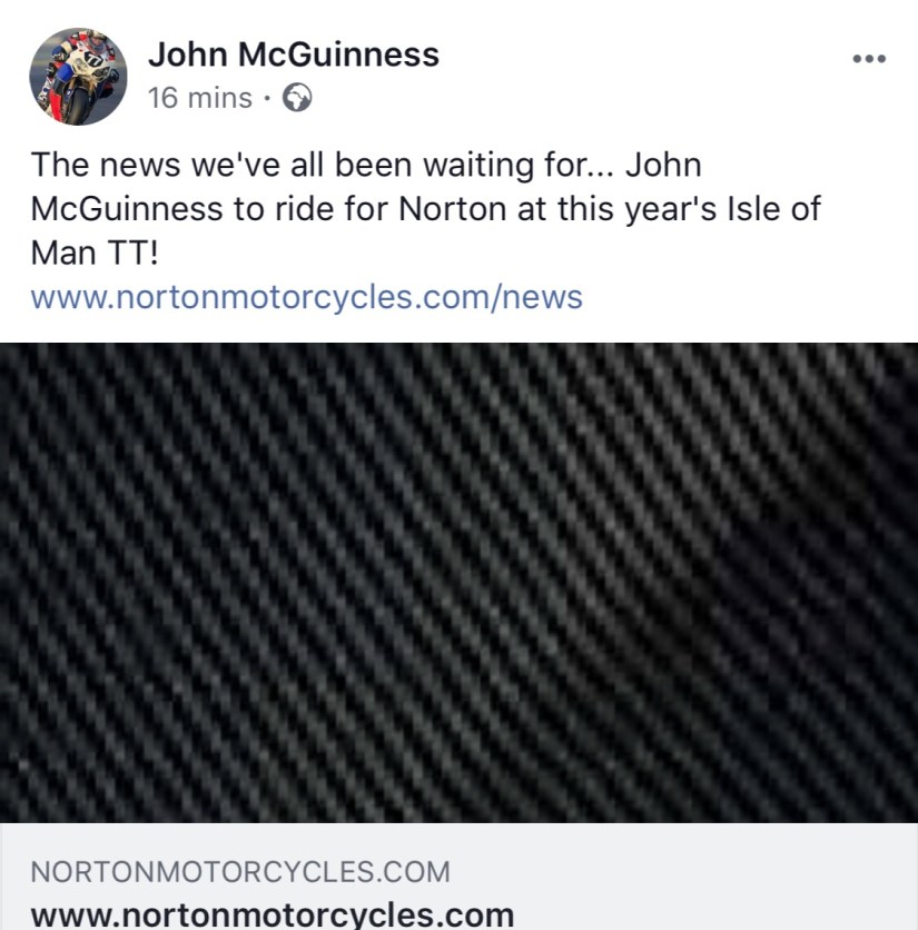 John McGuinness to ride a Norton In 2018!